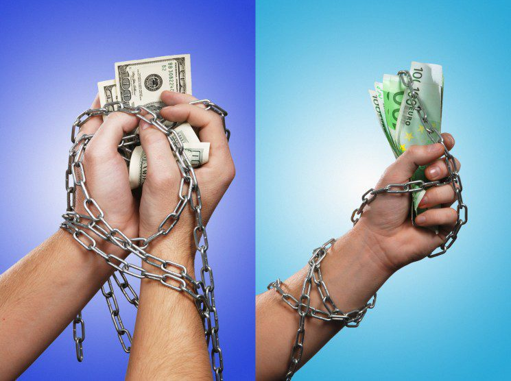hands with money in chain