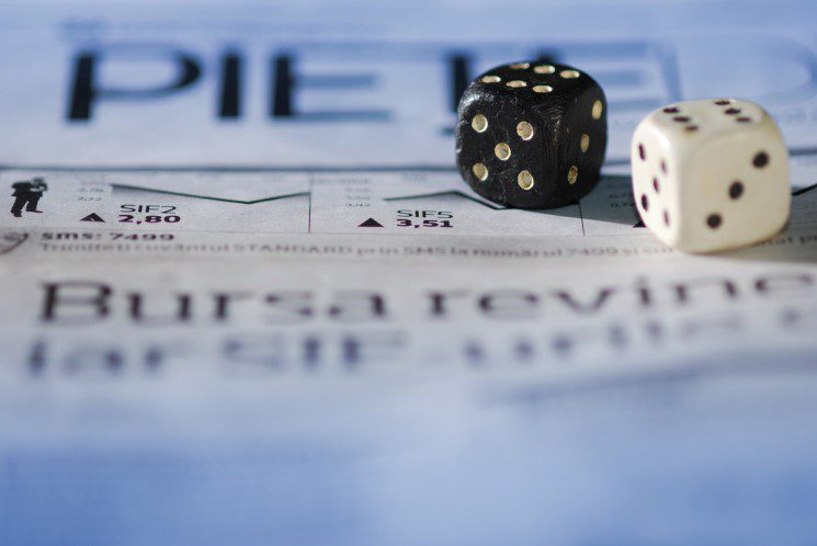 dice on business paper